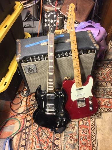 Gibson SG, Fender Telecaster, MusicMan Amp