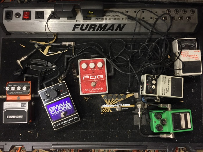 Pedalboard with EHX pedals, Ibanez Tubescreamer