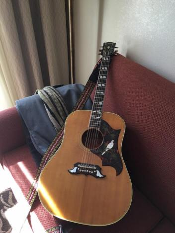 A Gibson Dove acoustic is a new addition. (Photo by JD Simo)