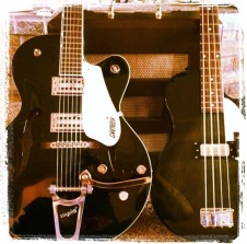 Matching Gretsch Electromatic semi-hollowbody and bass
