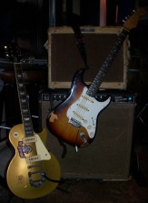 Epiphone Les Paul goldtop and Fender Stratocaster