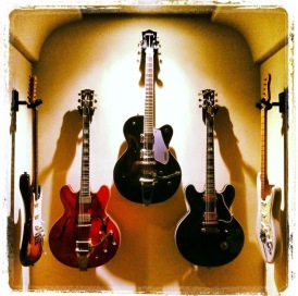 1967 Gibson ES-355 (red), Gretsch Electromatic semi-hollowbody, Gibson Lucille ES-355